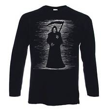 GRIM REAPER LONG SLEEVE T-SHIRT - Skeleton Skull Halloween Goth Gothic