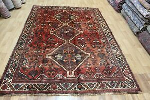 Antique Handmade Persian Tribal Rug 263 x 182 cm Hand Knotted Wool Rug