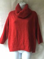 INC Cowl Neck Sweater Red Soft Wool Blend High Low Hem Long Sleeve Size L