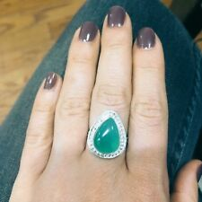 Size 9 Teardrop Green Onyx Gemstone Silver Plated Pear Statement Ring Handmade