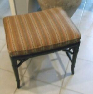 Vintage The Mahon Co. Black Painted Faux Bamboo Bench w/Upholstered Seat