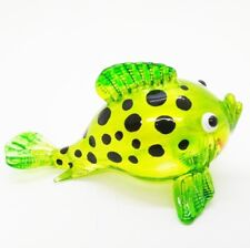 Green Puffer Fish Hand Painted Blowing Glass Handmade Decor Animal Arts Blown
