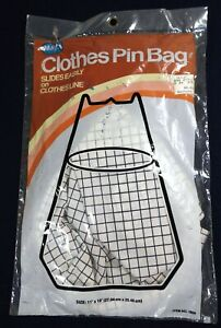#1 NIP New Vtg Color Magla Stay Open Clothes Pin Clothesline Hanger BAG 11x10