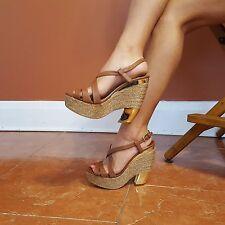 MIU MIU Sz 7.5 Brown Leather Gold Platform Wedges Strappy Open Toe Women's EUC