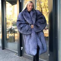 Women's Full Pelt Genuine Silver Fox Fur Coat Lapel Collar Jacket Thick Overcoat