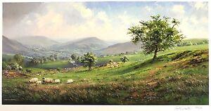 "REX PRESTON ""Springtime"" dales sheep farm SGD LTD ED! SIZE:39cm x 69cm NEW RARE"