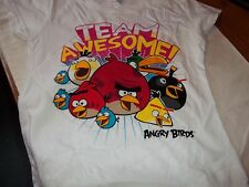 Angry Birds short sleeved T Shirt WHITE Age 13 NEW team awesome FREE POST
