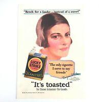 RARE 1929 Lucky Strike VTG Ad Marjorie Oelrichs Tobacciana Tobacco Cigarettes