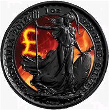 2018 1 Oz Silver £2  BURNING BRITANNIA Coin WITH RUTHENIUM, BOX AND COA.