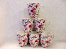 Set of 6 Abbeydale collection pink summertime chintz aspen china mugs