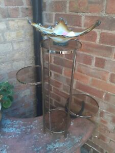 Vintage Rectro Chrome Brass Tinted Glass Sude Table Display Planter Pot Stand
