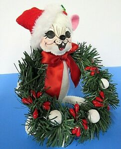 """Annalee Doll 6""""  Yuletide Mouse New Tags Hand Painted Bendable 2019 Figurine"""