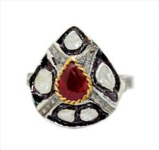 Style Natural Ruby Real Diamond Ring 925 Silver Antique Rose Cut Uncut Victorian