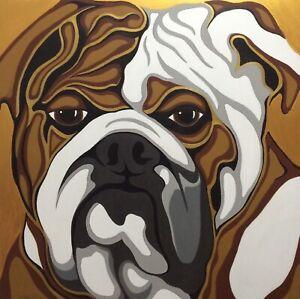 "Original Pop Art English Bulldog Dog Painting, 39x39"", Acrylic On Canvas,"