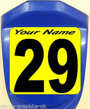4 x Custom Kart Race Numbers & Backgrounds With Name Stickers Decals Any Colour