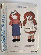 Uncut McCalls Pattern 5713 Raggedy Ann & Andy Dolls, Clothes 1977 4 Sizes