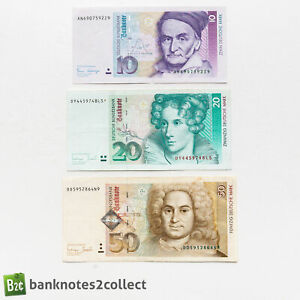 GERMANY: Set of 3 German Mark Banknotes.