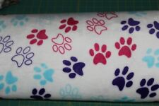 "Sherpa Fleece Fabric ~2 yards ~ White with pink, purple, paw prints ~ 60"" ~ BTY"