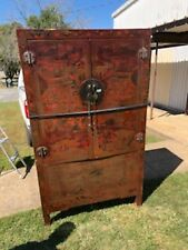 Large 1700s 1800s Antique Chinese Decorated Lacquerware Lacquer Cabinet Cupboard