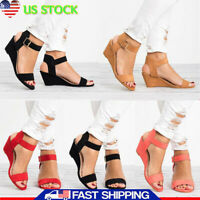 Roman Women Flatform Espadrille Sandals Wedge Low Heel Ankle Shoes Size US 5-8.5