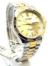 New Citizen Man  Two-tone,Yellow-dial, Day-date-window Dress Watch