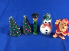 Vintage Lot Of 5 Christmas Candles - Gurley & Halo Santa Trees Light Post