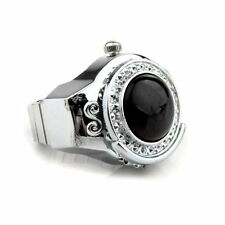 Stretchy Black Round Agate Gem Finger Ring Watch 20mm HOT TS