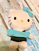 "Sanrio Hello Kitty Stuffed Animal Toy Blue Bow & Off The Shoulder Shirt 6"" 2012"