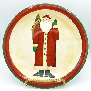 Debbie Mumm Folk Art Santa Salad Plate Santa Waving