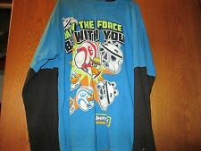 Boys Angry Birds/Star Wars Blue Long Sleeve Top with Hooded size 8