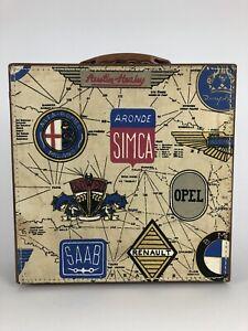 Vtg Retro Travel Case Suitcase with European Automobile Motif Mid Century