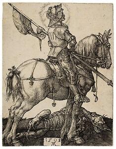 St George on Horseback Albrecht Dürer Durer engraving ca.1508