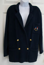 RALPH LAUREN NAUTICAL FLAG NAVY GOLD CROWN & CREST BUTTON CARDIGAN SWEATER COAT