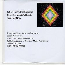 (ED900) Lavender Diamond, Everybody's Heart's Breakng Now - 2012 DJ CD