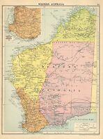 1929 MAP ~ WESTERN AUSTRALIA ~ INSET PERTH & ALBANY DISTRICT EUCLA