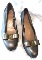 SALVATORE FERRAGAMO Pewter Grey Vara Bow Leather Pumps Shoes Size 10 B