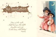 VINTAGE UNUSED INVITATION & REPLY PERFORATED ART POSTCARD CHILDREN CRESCENT MOON