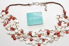 """JAY KING DTR Red Coral Mother Of Pearl Disk Chiclet 23"""" Necklace Sterling Silver"""