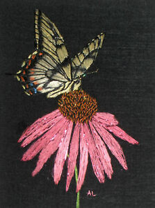 "ACEO Original ""Swallowtail Butterfly & Flower"" Silk Hand Embroidery - A Lobban"