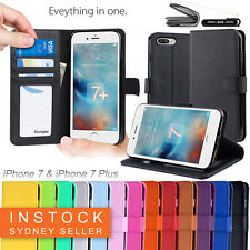 Premium Leather Wallet TPU JELLY Case Cover for Apple iPhone X 5S 6S 7 & 8 Plus
