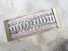 Vintage Floral Filigree Antiqued Enameled  Brass French Clip Hair Barrette USA