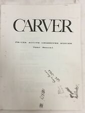 Carver Crossover Pm-Cx4 Limiter Manual