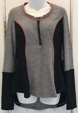 New Fit 4U Swim Solutions Gray Zipper Long Sleeve Athletic Top Size: 14