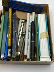 Box of Vintage Turquoise and other Misc Drawing Leads Filmograph & Stencils