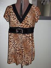 Takoni Womens Plus Size 2X Blouse Stretch Top Black Brown Shirt Tunic Belt 1X X
