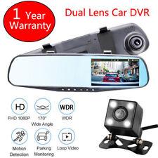 "4.3"" Dual Lens 1080P Car DVR Dash Cam Video Recorder Rear View Mirror Camera NEW"