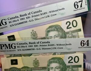Canada🇨🇦1991- Two $20 **MATCHING LOW S/N 0000788**  PMG Superb Gem UNC 67+64