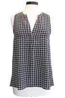 NWT- Joie Aruna Printed Silk Sleeveless Top, Dark Navy Blue - Size Small