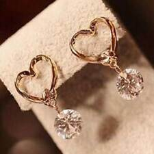 CRYSTAL Drop Gold CUBIC ZIRCONIA Heart Love Crystal Earrings UK SELLER