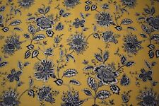 "Gold Navy Floral Print Cotton Linen Fabric 55""W Upholstery BTY Natural Fiber"